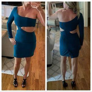 Donna Mizani Long Sleeve Cutout One Shoulder Dress